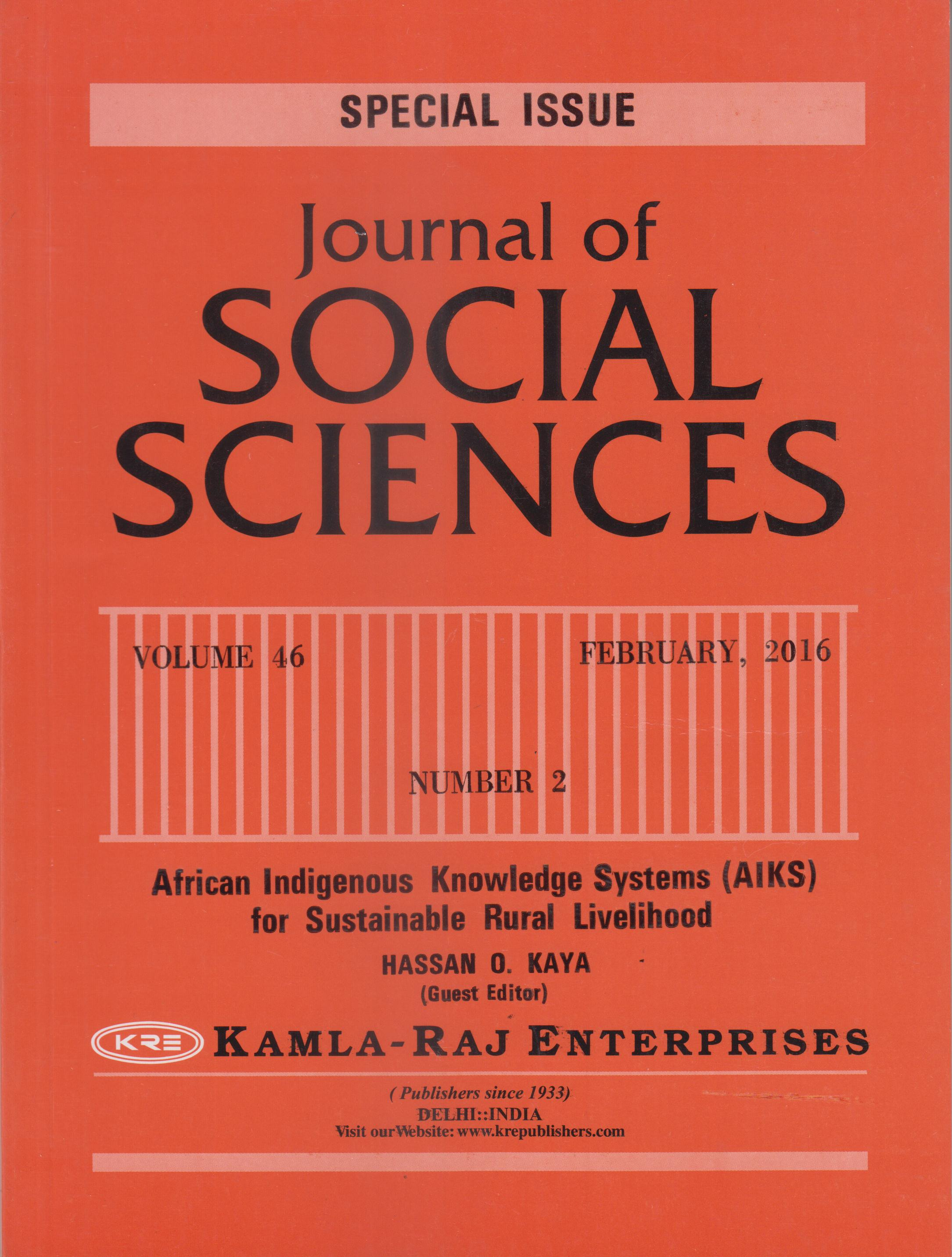 SPECIAL VOLUME - SOCIAL SCIENCES